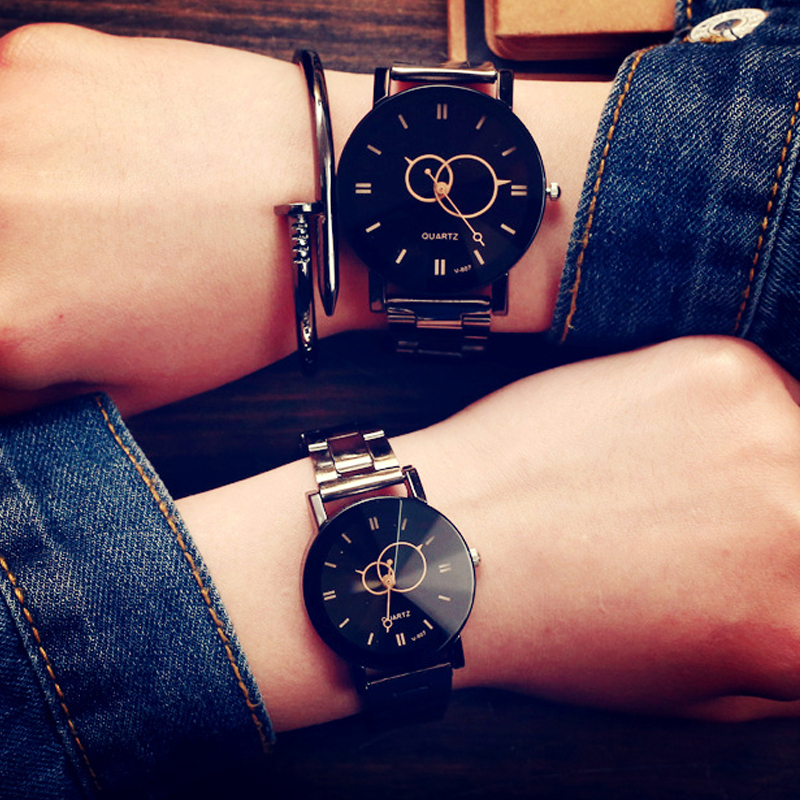 KEVIN New Design Couple Watches Fashion Black Round Dial Stainless Steel Band Quartz Wrist Watch Mens Women Lover Gifts