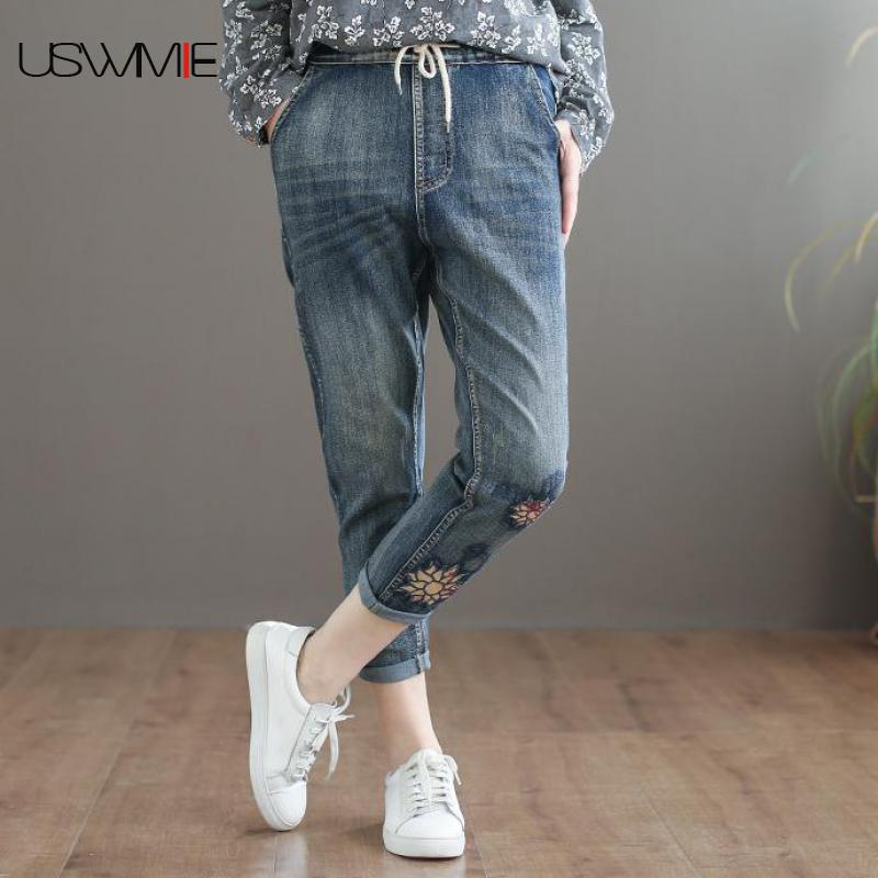 Women Pants National Style Elastic Waist Embroidered Make Old Solid Color Streetwear Elastic Waist Comfort Cowboy Plus Size Jean
