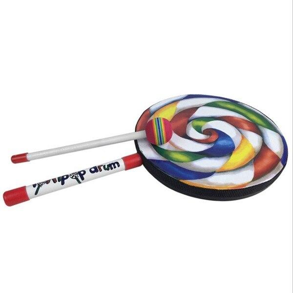 polegadas, tambor com malho colorido arco-íris, instrumentos