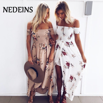 NEDEINS 2020 Women Sexy floral Dress Summer Split  Maxi Beach Sundress Off Backless Dress Boho Long Dresses Vestidos Femme women short sleeve long dress summer ethnic style digital print maxi dresses girls loose split beach sundress vestidos