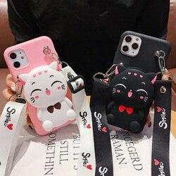 3D Cartoon Cat Wallet Case For Doogee X95 X9 X70 X60L X6 X55 X50 X30 N20 N10 Y9 Plus Y8 Y7 Cute Soft TPU Cover