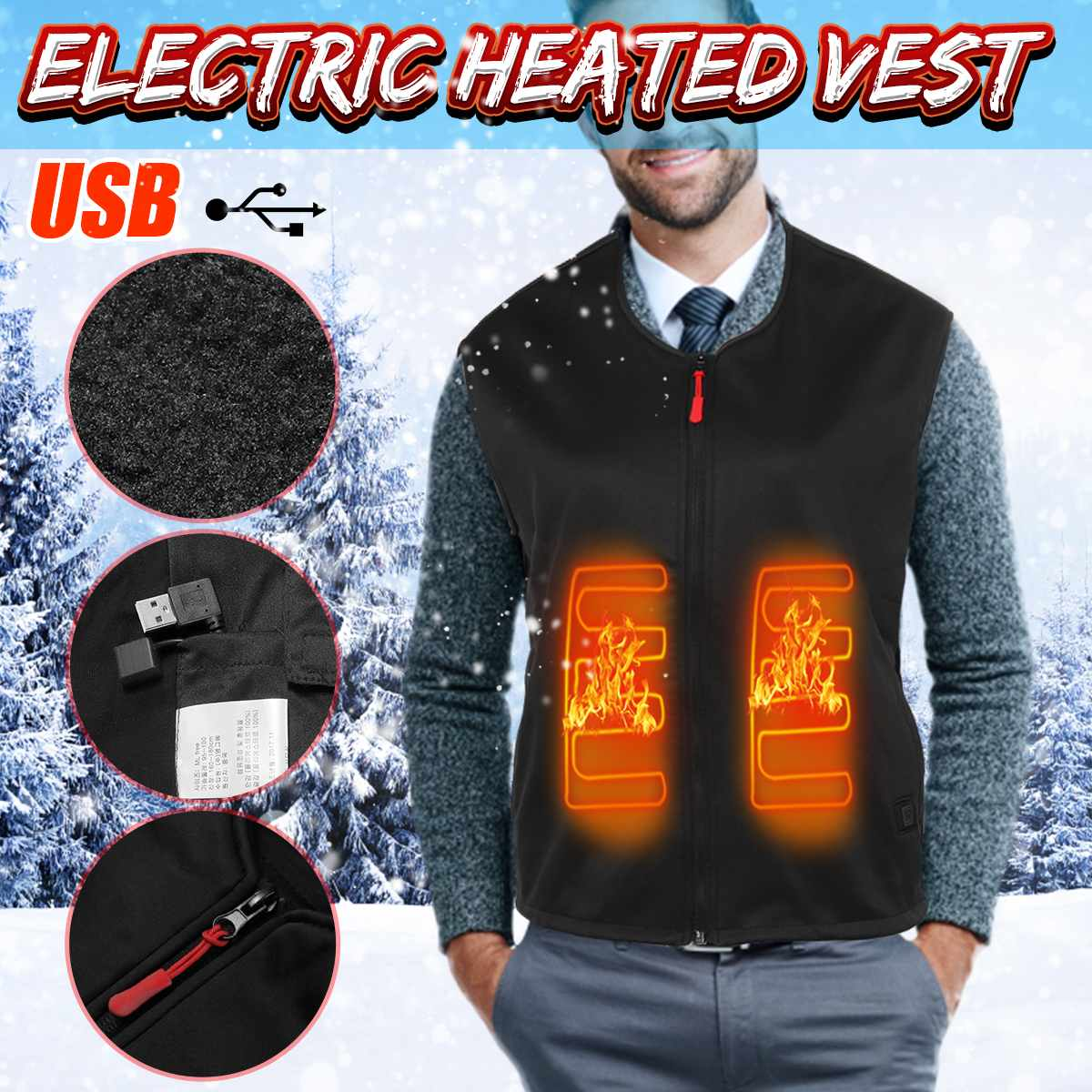 Electric USB Heating Vest Warm Heater for Body Heated Waistcoat Heating Clothing Jacket Heated Mat Pad for Men Women Outdoor|Electric Heaters| |  -