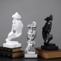 Home Decorations Resin Silence is a Golden Thinker Miniature Statue Abstract Ornament Statue Mask Sculpture for office decor