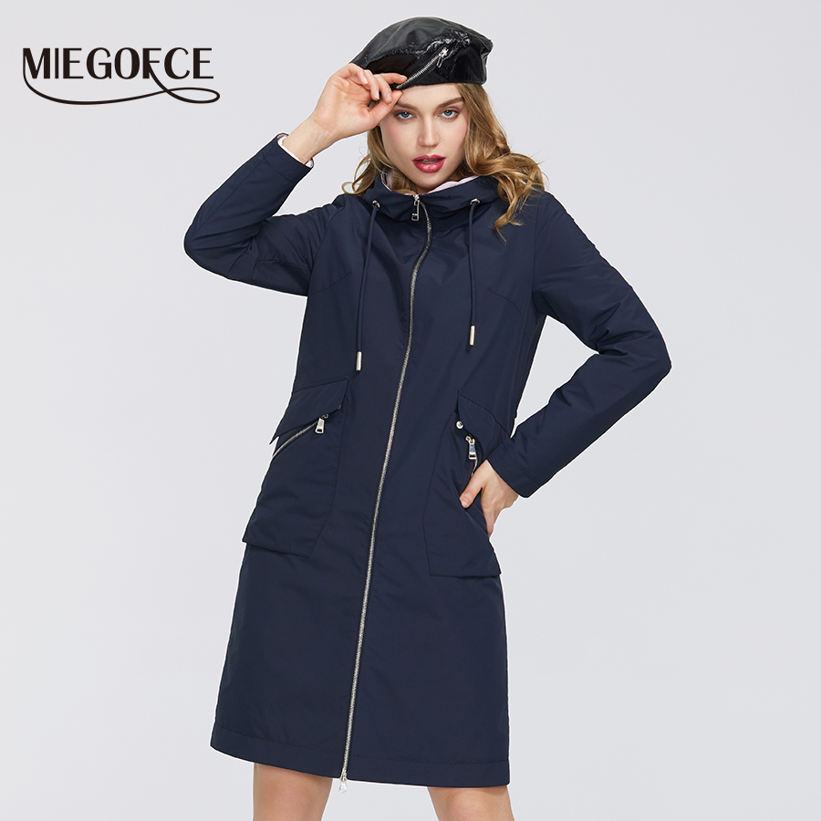 MIEOGOFCE 2020 New Spring Trench Coat Long Women's Windbreaker Warm Women's Cotton Coat With Stand Collar New Design Women Coat