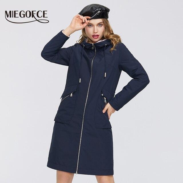 $ US $49.80 MIEOGOFCE 2020 New Spring Trench Coat Long Women's Windbreaker Warm Women's Cotton Coat With Stand Collar New Design Women Coat