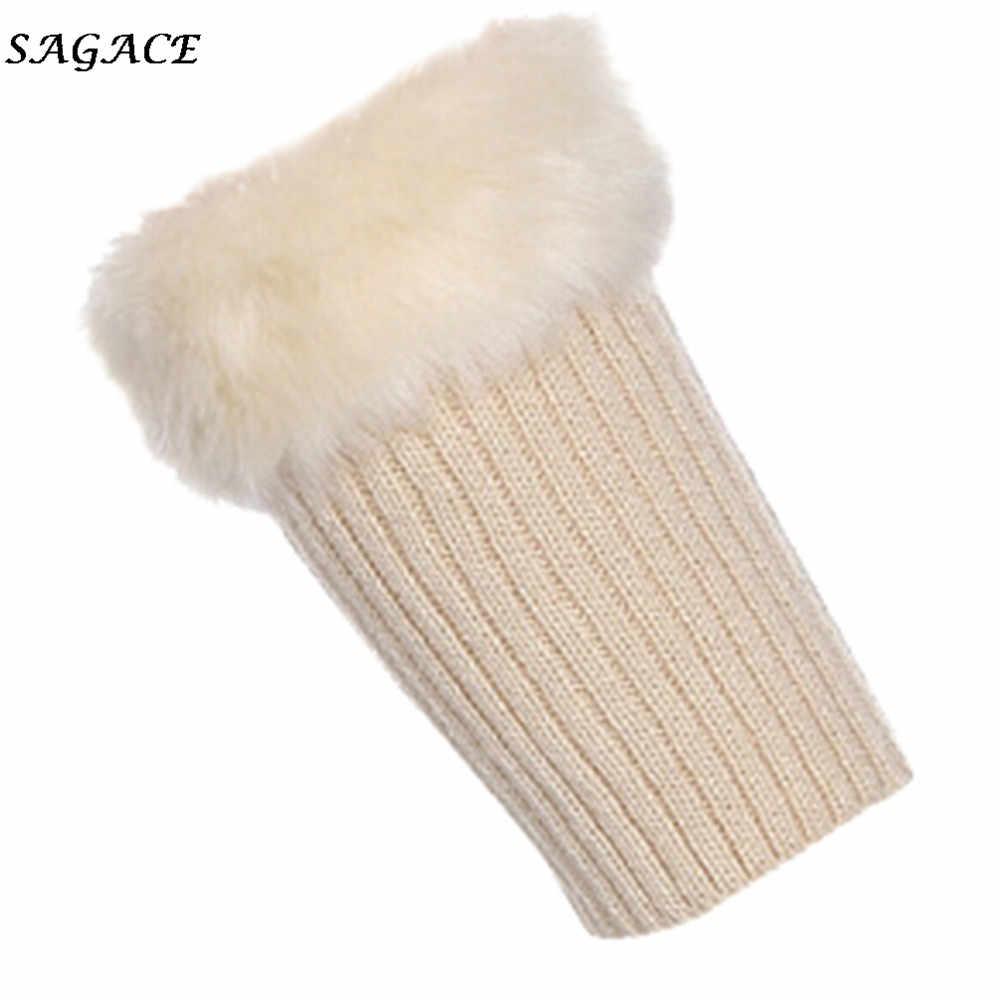 SAGACE bacak ısıtıcısı s kadınlar sıcak örgü katı bacak ısıtıcısı s tığ tayt Slouch çizme peluş Unisex çizme kürk çorap kış bacak ısıtıcısı