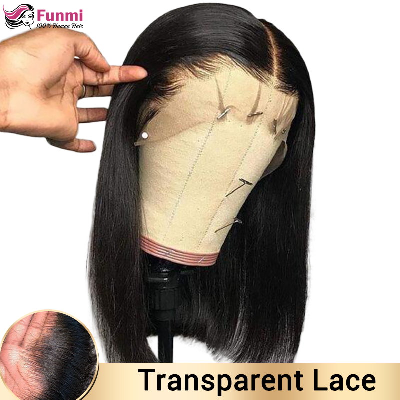 Short Bob Wig Brazilian Transparent Lace Front Human Hair Wigs Pre-Plucked Remy Closure Wig Human Hair Wigs For Black Women