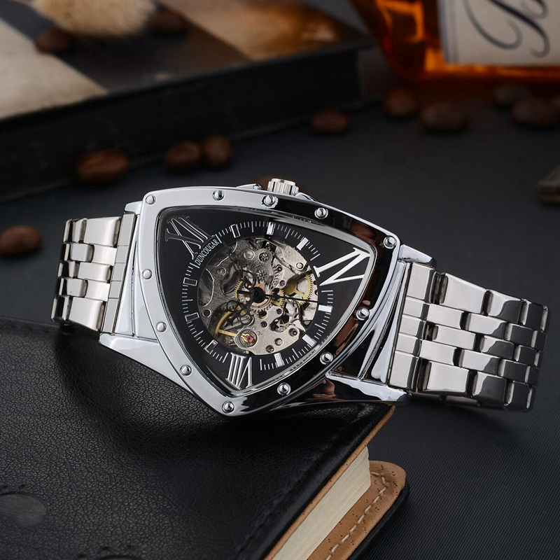 Hff00f7306cb6484abbba243afde55649r Men Watch Hollow Triangular Mechanical Watches Stainless Steel Men's Wristwatches Fashion Brand Men Clock Male Dropshipping!!!
