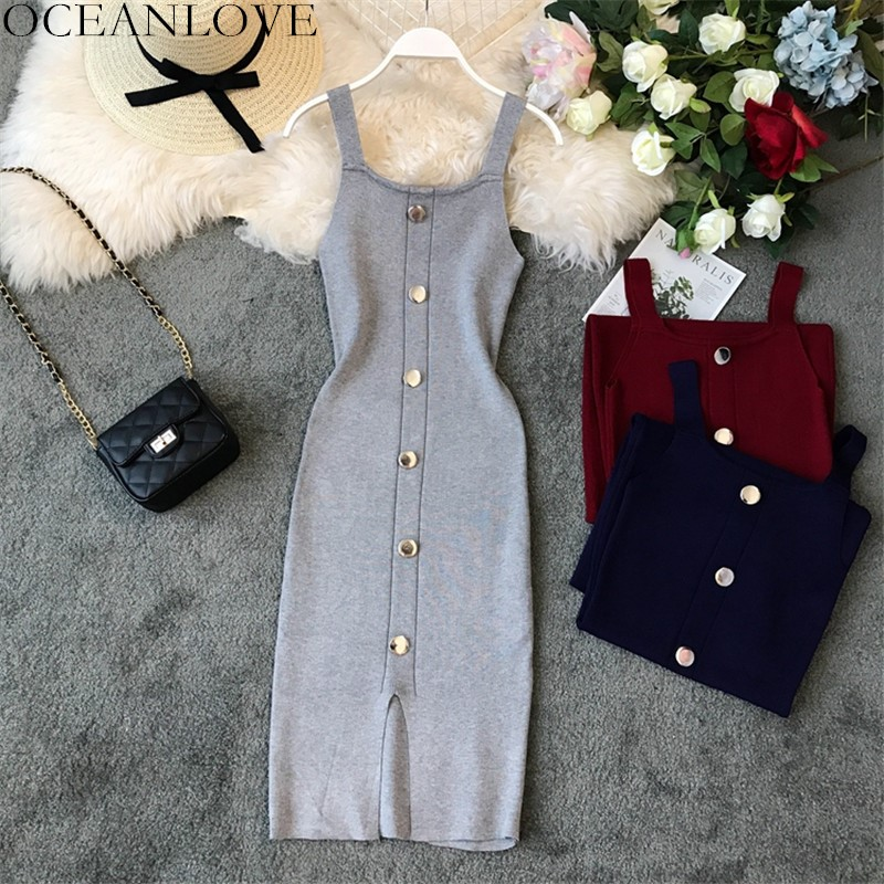OCEANLOVE Stretch Solid Button Summer Dress Square Collar Bodycon Vestidos Slim Sexy Women Dreses 2020 Knitting Robe Femme 11838