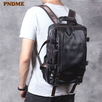 PNDME casual simple genuine leather men black backpack fashion designer anti theft cowhide travel bagpack luxury laptop bookbag