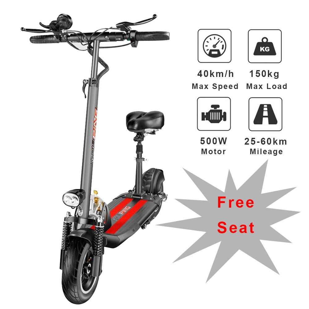 [EU] YOUPing Q02 складной электрический скутер 500 Вт Мотор 48В 18Ah 40 км/ч e скутер 10 дюймов шин escooter 150 кг нагрузки для взрослых