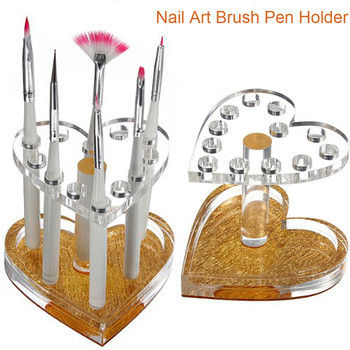 Professional 12 Holes Nail Art Brush Holder Heart Stand Makeup Acrylic Gel Pen Gold Rest Display Brushes