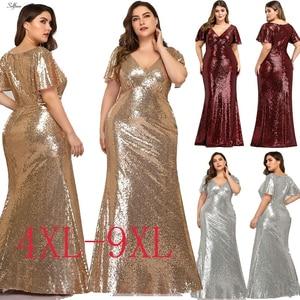 Image 3 - Plus rozmiar różowe złoto syrenka kobiety sukienki z krótkim rękawem cekinami dekolt Bodycon eleganckie sukienki Maxi na szata na imprezę Femme 2020