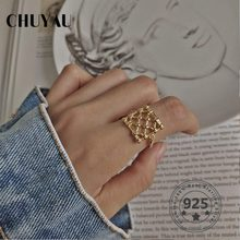 Chuyau 925 Sterling Silver Weave Mesh Rings Gold Simple Element Design Wild Elegant Rings For Women Fine Jewelry For Charm Gift(China)