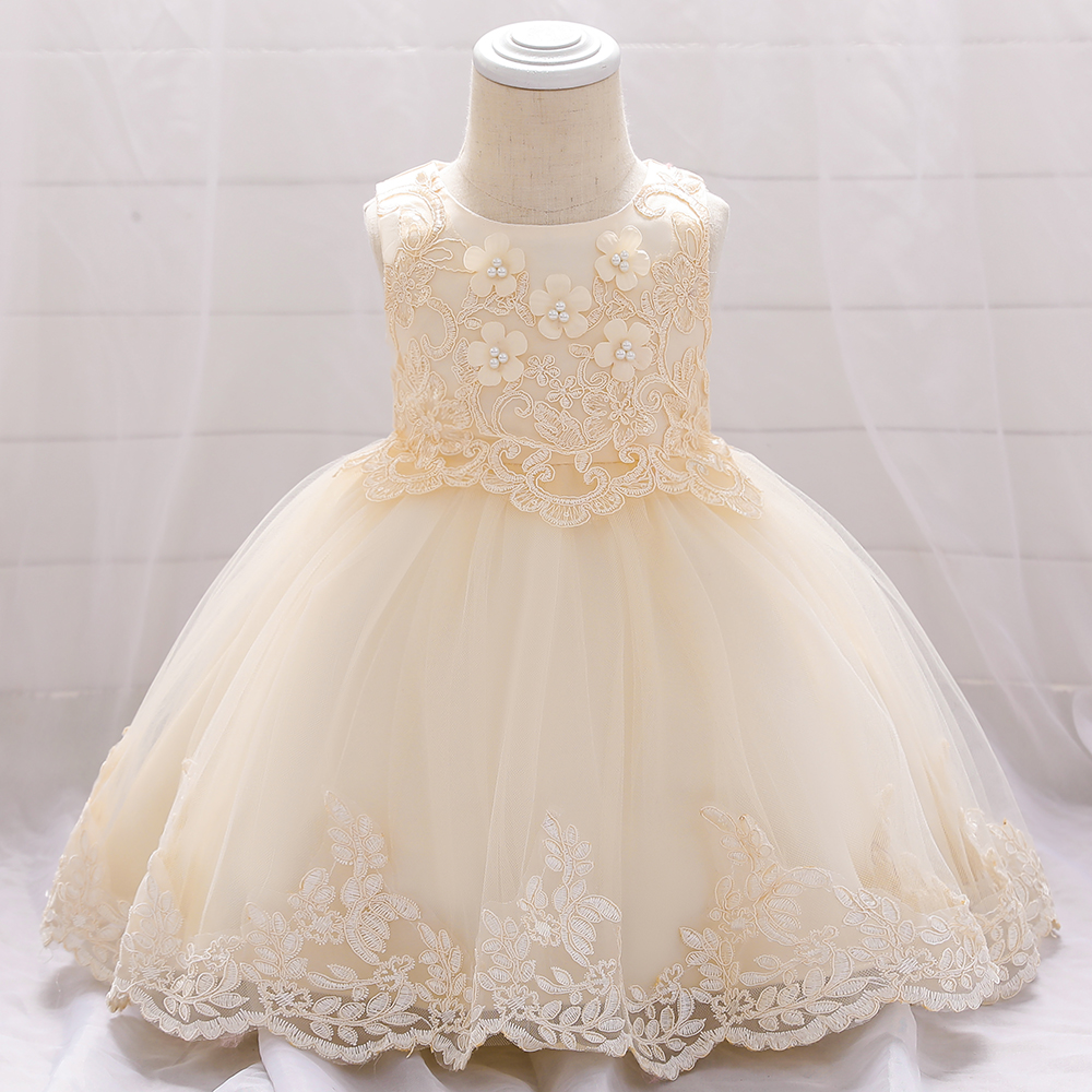 Flower Lace Bead Birthday Baby Girls Dresses Kids Clothes Floral Bow Party Dress Girls Wedding Baptism Princess Dresses L1886XZ