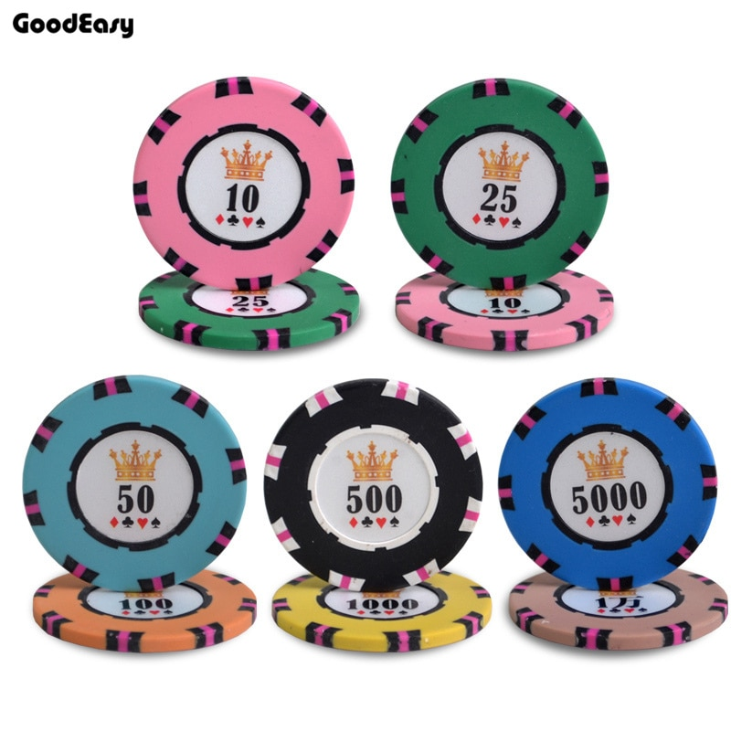 Casino Crown Poker Chips Texas Hold'em Clay With Iron Poker Chips Upscale Set Poker Metal Coins Entertainment Accessories 10Pcs