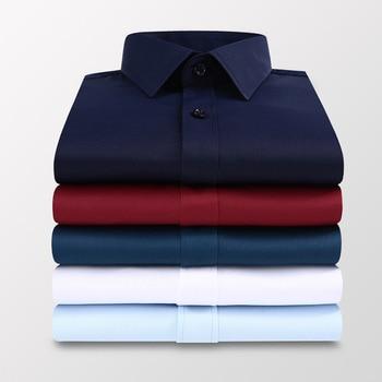 Plus Size 5XL 6XL 7XL Men Solid Color Business Shirt Fashion Casual Slim White Long Sleeve Shirt Male Brand Clothes 1