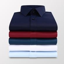 Plus Size 5XL 6XL 7XL Men Solid Color Business Shirt Fashion Casual Slim White Long Sleeve Shirt Male Brand Clothes