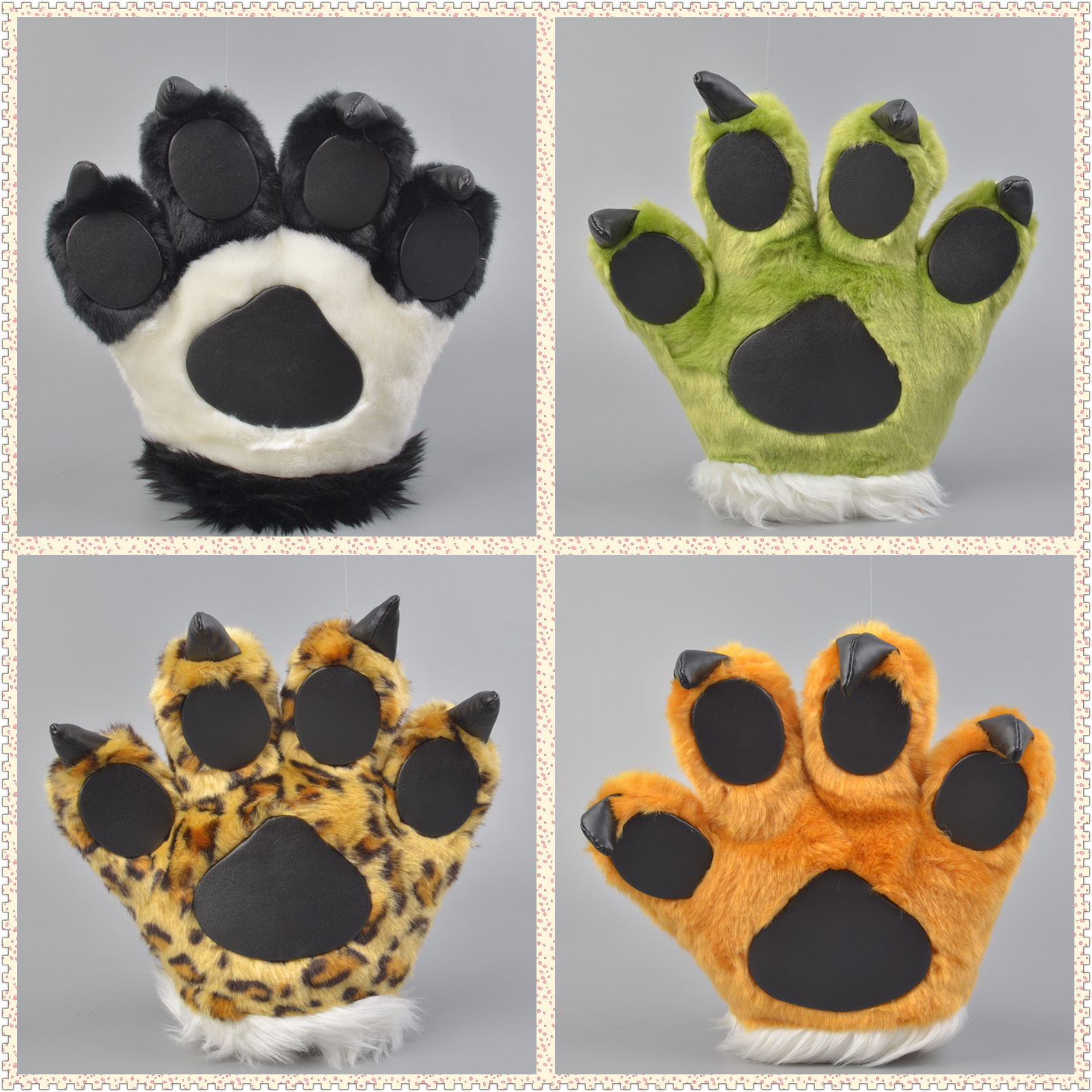 1pc Plush Bear Cat Wolf Tiger Paw Claw Full Gloves Anime Novelty Cosplay Halloween Party Costume Cheerleaders Toy Birthday Gift