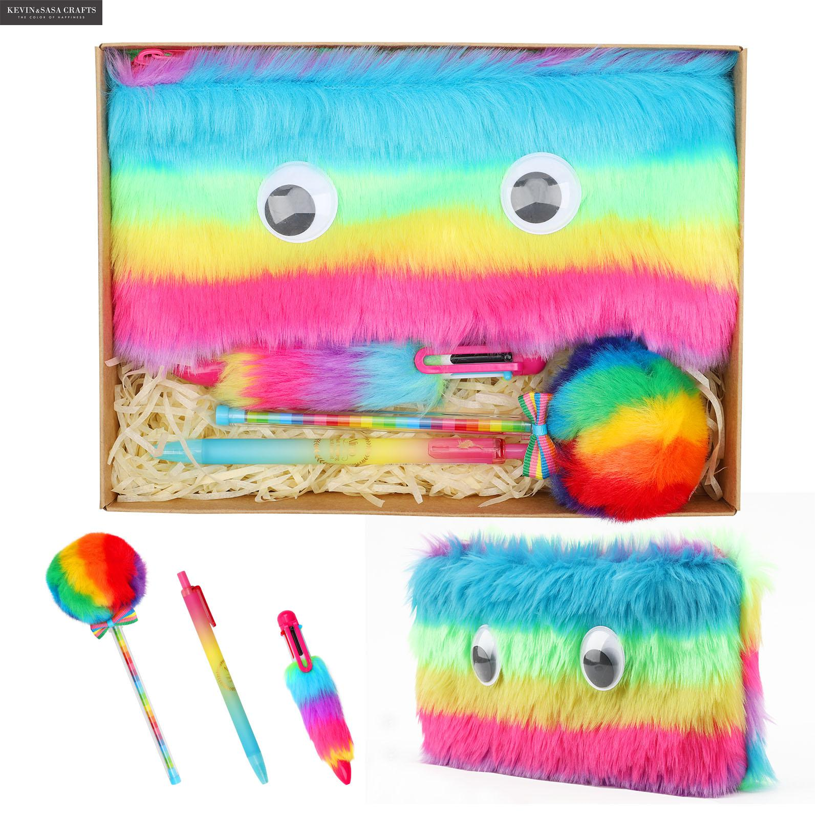Rainbow Pencil Case Set Quality Plush School Supplies Stationery Gift Set Pencilcase School Cute Pencil Box School Tools