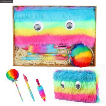 Rainbow Pencil Case Set Quality Plush School Supplies Stationery Gift Set Pencilcase School Cute Pencil Box School Tools