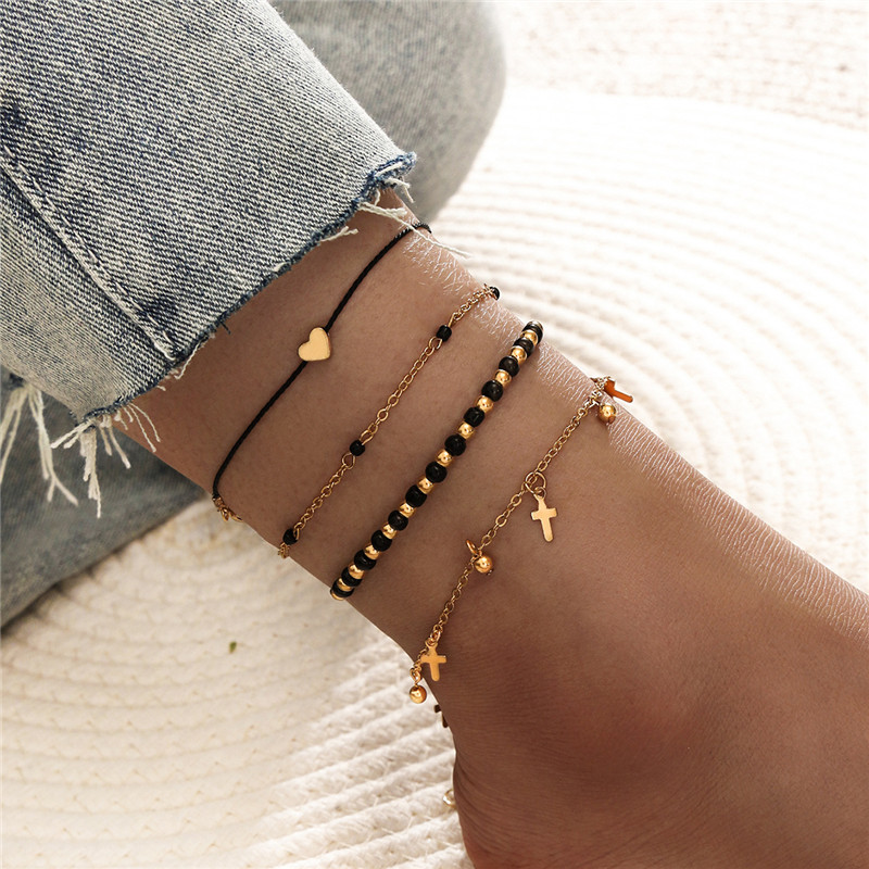 4Pcs/Set Vintage Boho Anklets Handmade Beads Heart Cross Charm Bracelet For Ankle Wholesale Female Leg Jewelry
