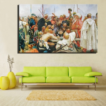 Famous Russian Painting The Reply of The Zaporozhian Cossacks To Sultan of Turkey Canvas Painting Wall Art Picture Home Decor image