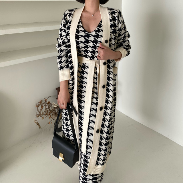 Sweater Set  Vintage Style V-Neck Long Knitted Sweater Coat  Houndstooth Vest Dress Two-Piece Suit 5