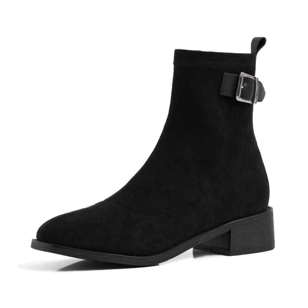 Krazing Pot inek deri streç akın kare ayak med topuklu kemer toka sapanlar kampüs katı zip kış sıcak kadınlar yarım çizmeler l14
