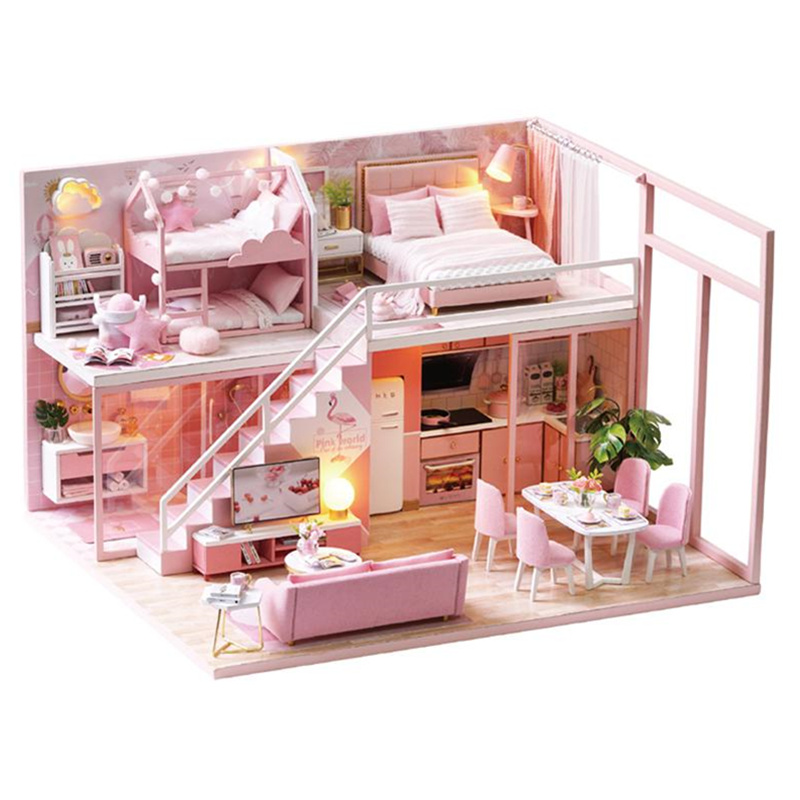 DIY Doll House Wooden Pink Doll Houses Miniature Dollhouse Furniture Kit Handmade Toys For Children Birthday Christmas Gift