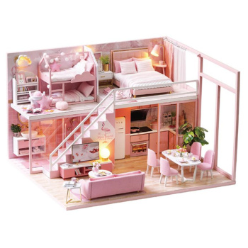 цена на DIY Doll House Wooden Pink doll Houses Miniature dollhouse Furniture Kit Handmade Toys for children Birthday Christmas Gift