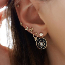 Stylish retro five-pointed star and moon studs set with eye earrings