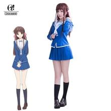 цена на ROLECOS Anime Fruits Basket Cosplay Costume Tohru Honda Cosplay Uniform JK Girl School Uniform Women Sailor Costume Top Skirt