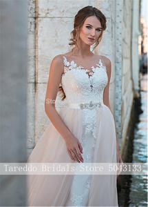 Image 3 - Luxury Two Pieces Mermaid Wedding Dresses Pink with Detachable Skirt 2020 Sexy Off Shoulder Lace Applique Open Back Bridal Gowns