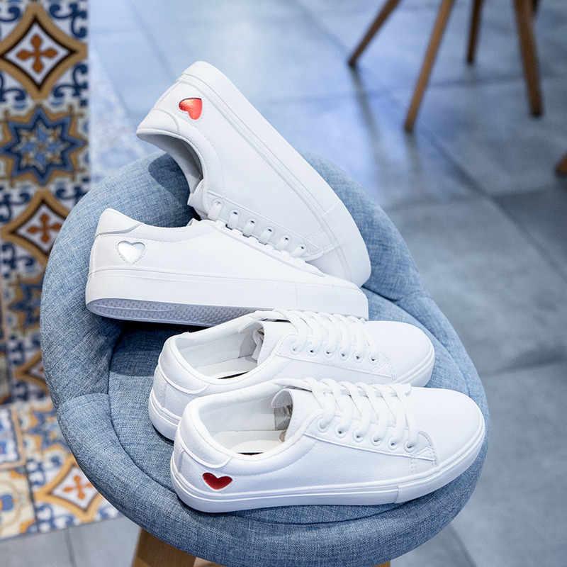 Wit Sneakers voor Vrouwen Canvas Schoenen Vrouwelijke Toevallige Flats Lederen Lace-Up Skateboard schoenen Vulcaniseer Schoen Meisjes 2019