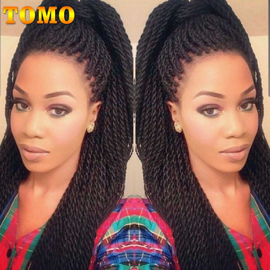 "TOMO 16"" 20"" 30strands Ombre Small Crotchet Braid Hair Extension Long Synthetic Senegalese Twist Braiding Hair for Black Women"