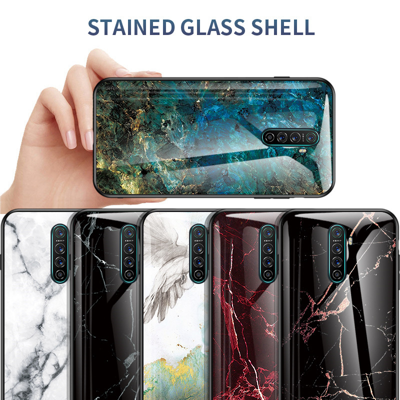 Marble Tempered <font><b>Glass</b></font> <font><b>Case</b></font> For <font><b>OPPO</b></font> Realme X2 Pro 3 5 C2 Q X Lite XT A5 <font><b>A3S</b></font> A7 A73 A83 F5 F7 F9 F11 K3 A9 2020 Reno Ace Cover image