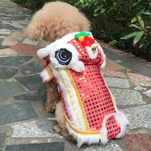 Cat Costume Teddy Lucky-Clothes Pet Dog Dragon Funny Dance-Lion Chinese Red for Festive