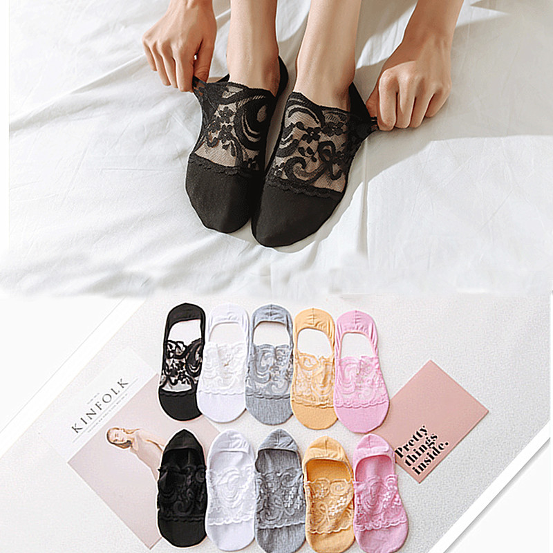 5 Pairs / Lot Women's Summer Fashion Windproof Lace Flower Socks Invisible Stiletto Socks 2019 Summer Lace Low To Help Socks