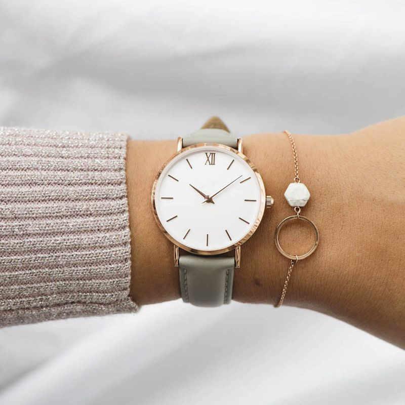 Nouvelle mode Simple femmes montres décontracté dames en cuir montre à Quartz montre femme horloges Vrouwen Zegarek Damski montre-montre