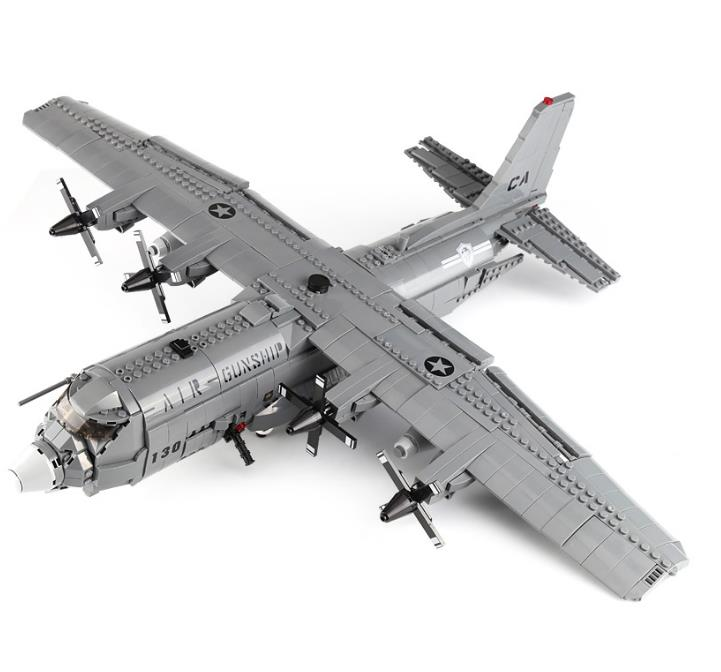 Military US Air force F35 Fighter AC-130 Gunship Model Building Blocks A10 Attack Airplane Bricks Toys Gift For Children image
