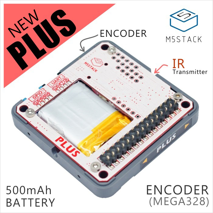 M5Stack New Arrival PLUS Module Encoder Module With MEGA328P 400mAh Battery ISP IR Transmitter UART/GPIO Port Suit For ESP32 Kit