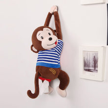 Cartoon Tissue Box Baby Cute Stuffed Toy Plush Animal Monkey Car Stroller Hanging Paper Napkin Box Cover Holder Paper Organizer1(China)