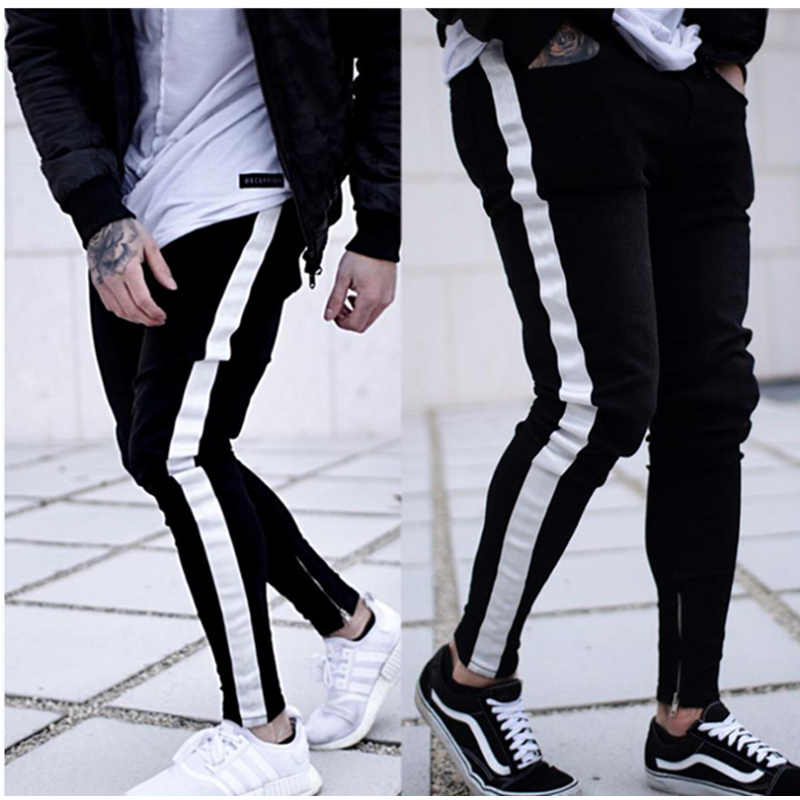 2020 Men 'side Stripe Jeans Fashion Street  Black Pant Hip Hop Sportswear Elastic Waist Joggers Pants