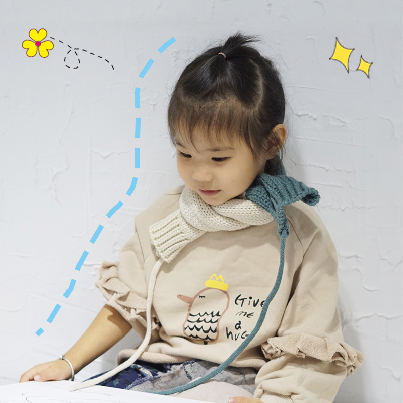 2019 South Korea Contrast Color Knit CHILDREN'S Scarf INS Versatile Yarn Baby Scarf Autumn And Winter Warm CHILDREN'S Scarf