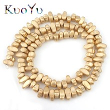 Natural Matte Irregular Gravel Light Gold Hematite Stone Beads Loose Spacer Beads For Jewelry Making Diy Charm Bracelet 15inch