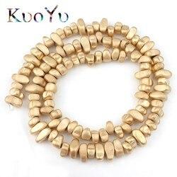 Natural Matte Irregular Gravel Light Gold Hematite Stone Beads Loose Spacer Beads For Jewelry Making Diy Charm Bracelet 15