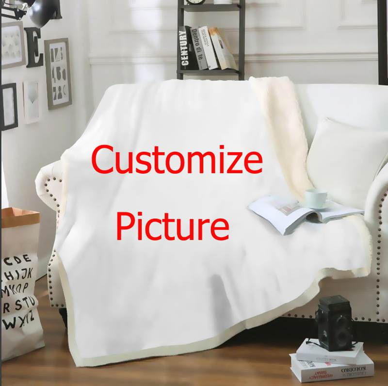 3D Printed Customize DIY Your Picture Photo Singer Star/Anime/Pet/family Soft Fleese Sofa Chair Bedding Home Blanket B21