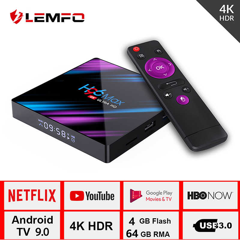 Lemfo H96 Max Smart TV Box Android 9.0 RK3318 4 GB 32 GB 64 GB 4 K HDR 2.4G & 5G Wifi BT4.0 USB 3.0 Airplay Goole Play Set Top Box