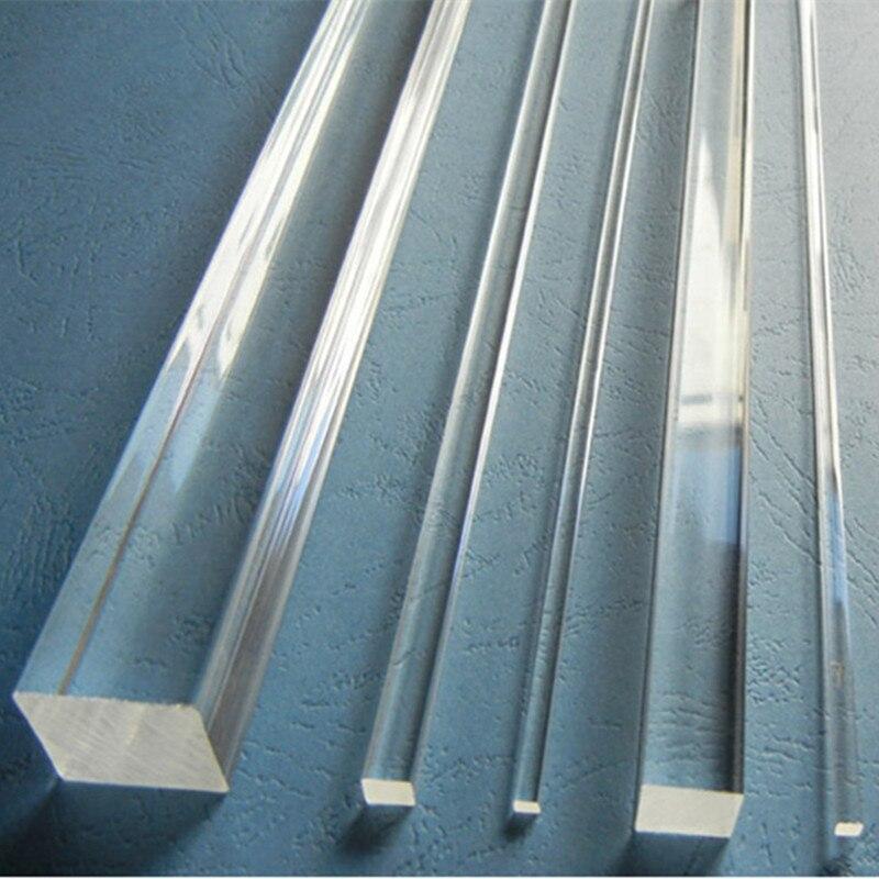 12pçs 25x25x1000mm acrílico, haste quadrada de acrílico, barra transparente de plástico extrusado, decoração de casa, aquário luz de led para móveis perspex